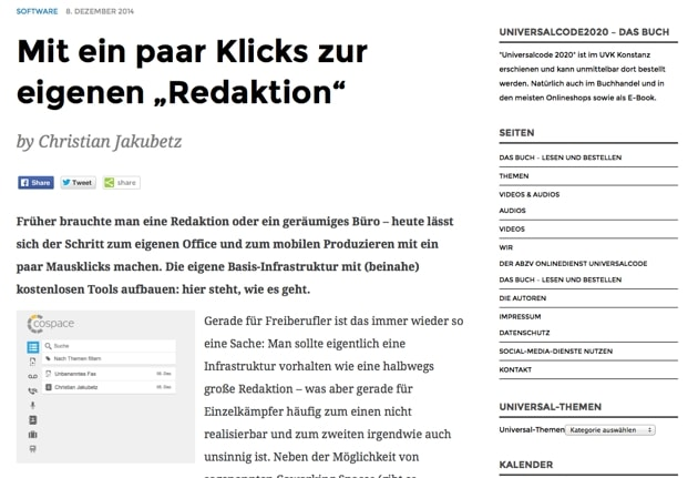 Screenshot von Jakubetz' Blog