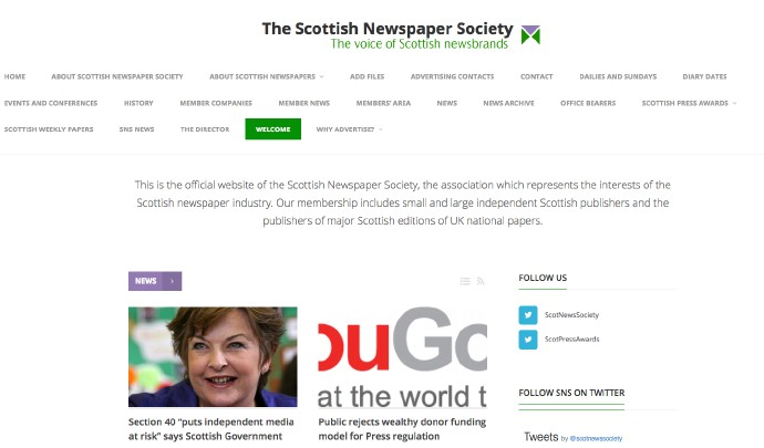 Screenshot der Scottish Newspaper Society