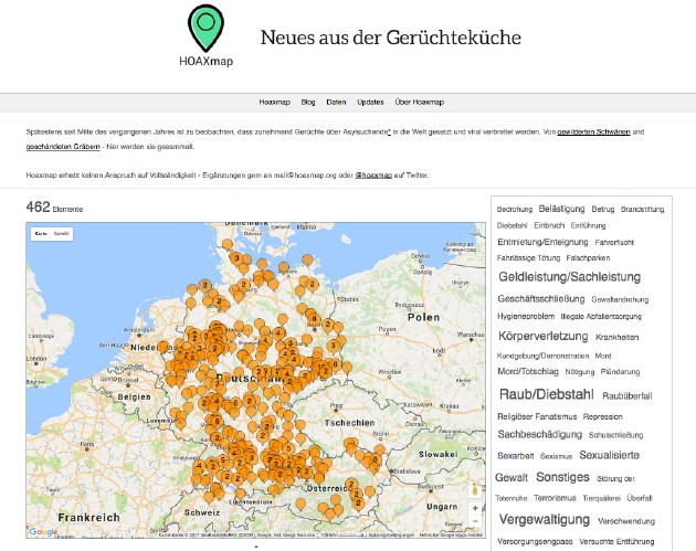 Screenshot von Hoaxmap.org